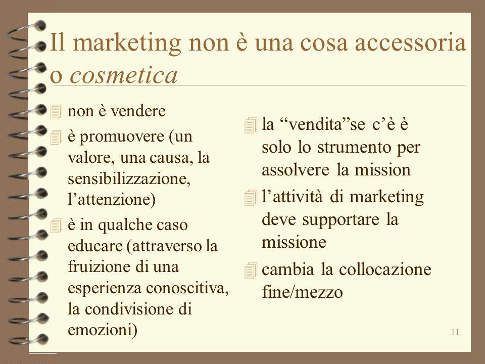 11 Il marketing non è una cosa accessoria o cosmetica 4 non è vendere 4 è promuovere (un valore, una causa, la sensibilizzazione, lattenzione) 4 è in