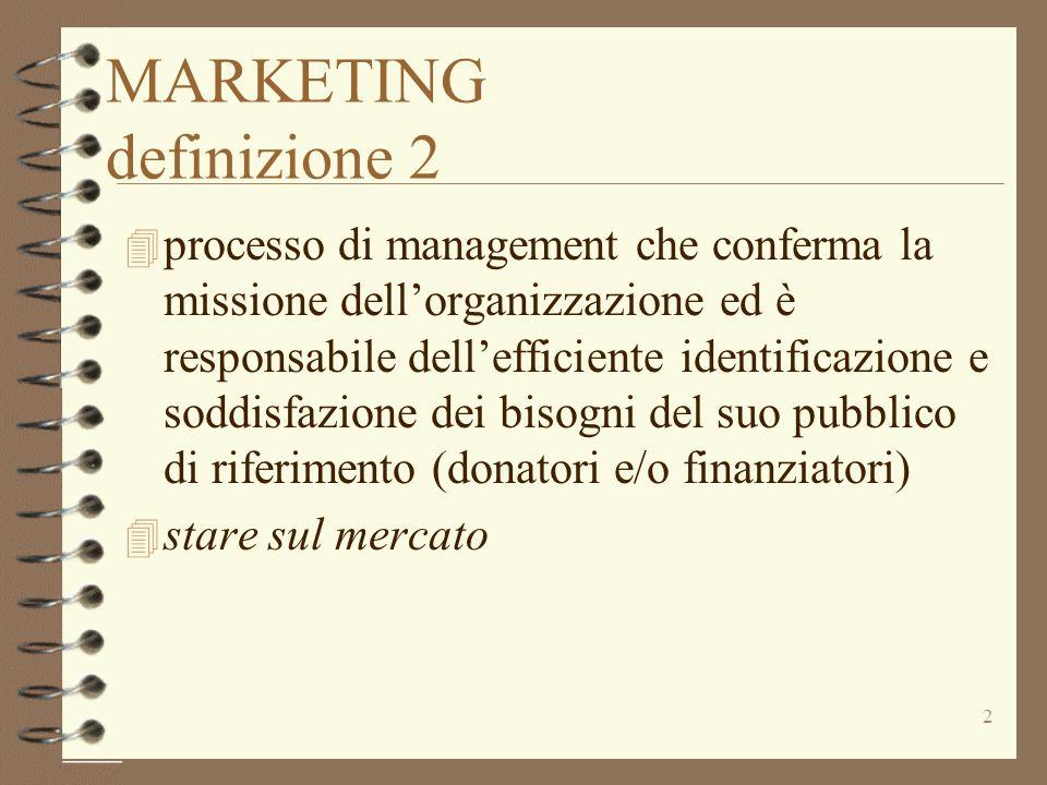 2 MARKETING definizione 2 4 processo di management che conferma la missione dellorganizzazione ed è responsabile dellefficiente identificazione e sodd