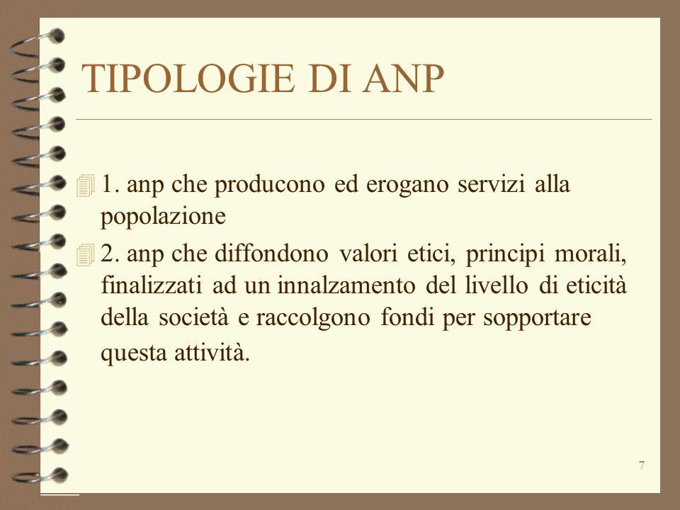 7 TIPOLOGIE DI ANP 4 1. anp che producono ed erogano servizi alla popolazione 4 2. anp che diffondono valori etici, principi morali, finalizzati ad un