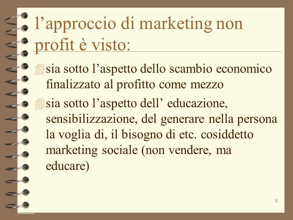 8 lapproccio di marketing non profit è visto: 4 sia sotto laspetto dello scambio economico finalizzato al profitto come mezzo 4 sia sotto laspetto del