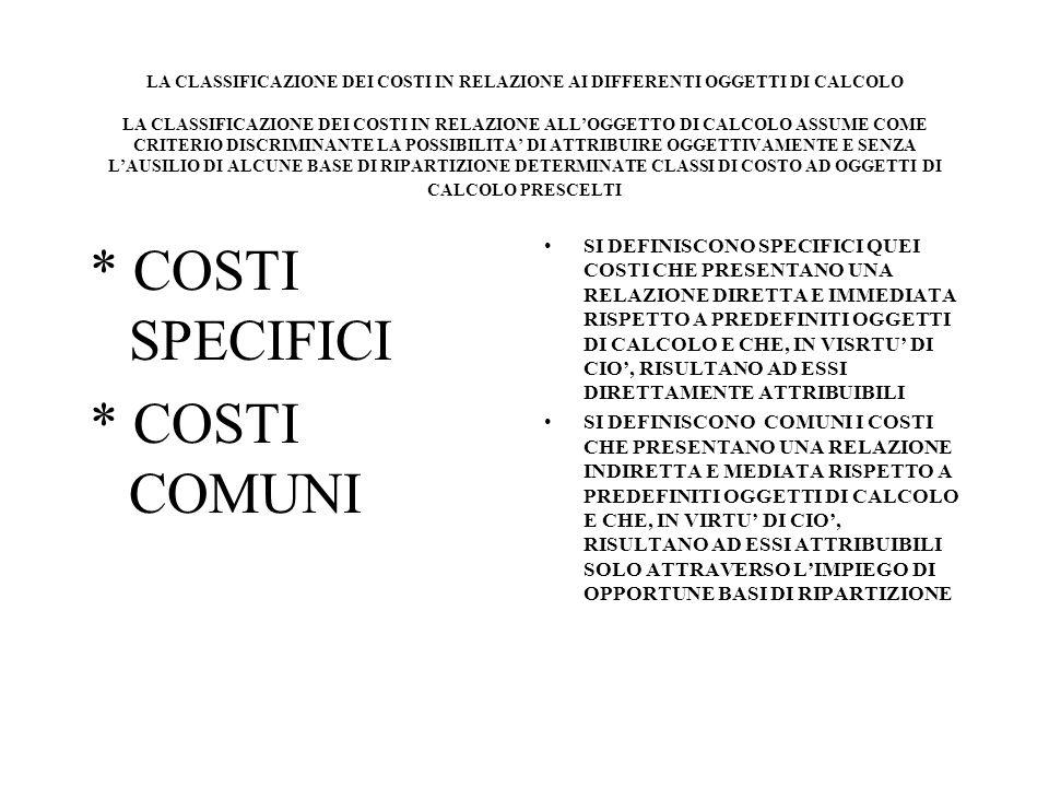 LA CLASSIFICAZIONE DEI COSTI IN RELAZIONE AI DIFFERENTI OGGETTI DI CALCOLO LA CLASSIFICAZIONE DEI COSTI IN RELAZIONE ALLOGGETTO DI CALCOLO ASSUME COME