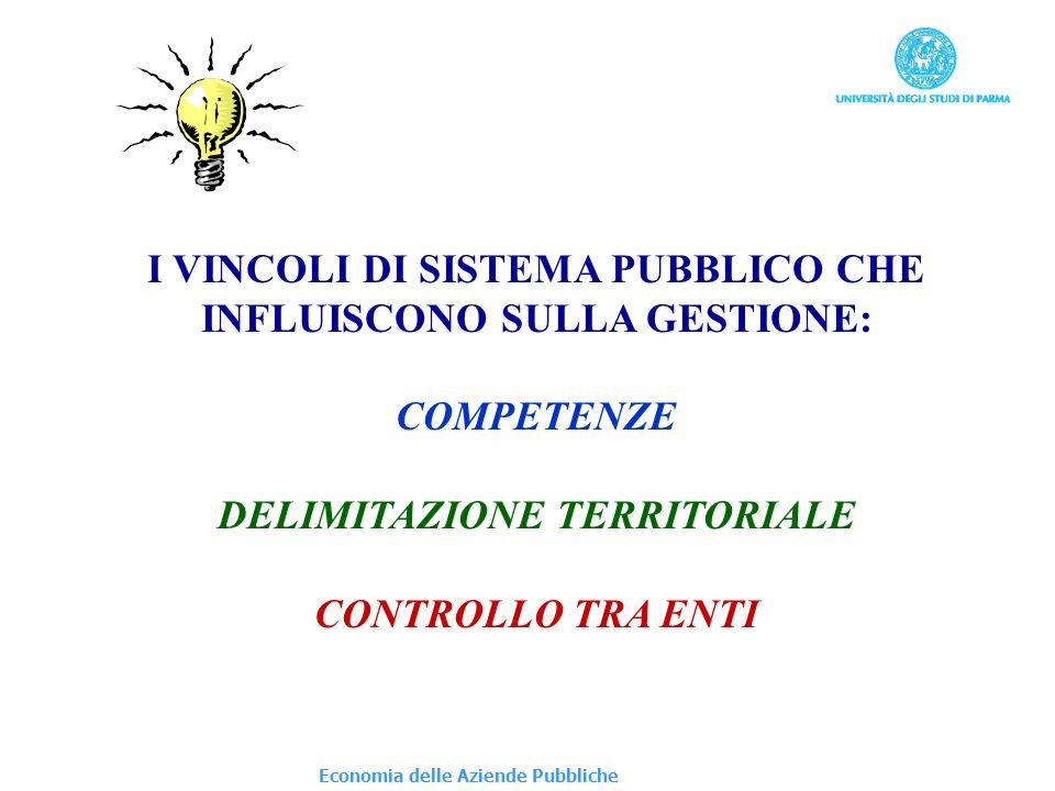 Economia delle Aziende Pubbliche I VINCOLI DI SISTEMA PUBBLICO CHE INFLUISCONO SULLA GESTIONE: COMPETENZE DELIMITAZIONE TERRITORIALE CONTROLLO TRA ENT