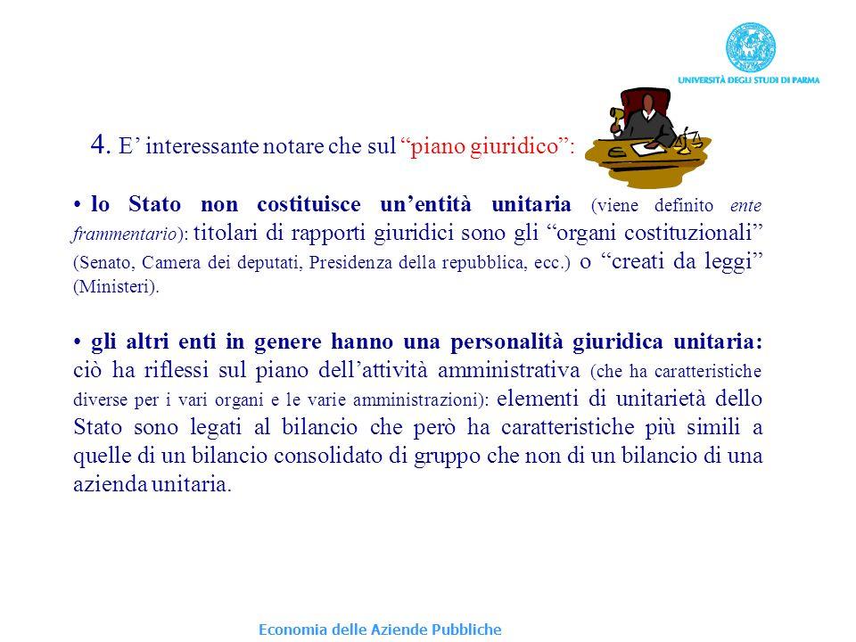Economia delle Aziende Pubbliche 4. E interessante notare che sul piano giuridico: lo Stato non costituisce unentità unitaria (viene definito ente fra