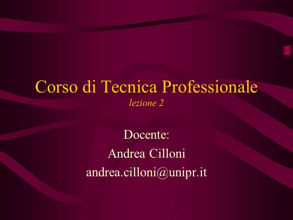 Corso di Tecnica Professionale lezione 2 Docente: Andrea Cilloni andrea.cilloni@unipr.it
