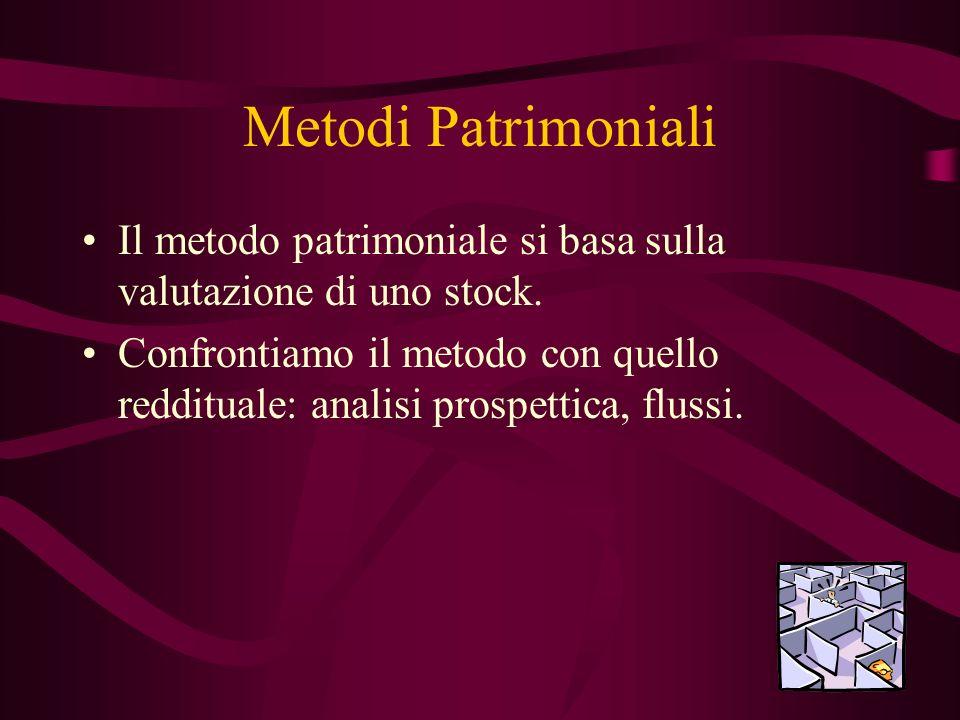 Metodi Patrimoniali Il metodo patrimoniale si basa sulla valutazione di uno stock. Confrontiamo il metodo con quello reddituale: analisi prospettica,