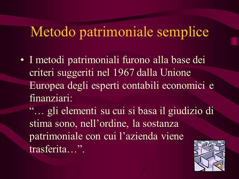 Metodo patrimoniale semplice I metodi patrimoniali furono alla base dei criteri suggeriti nel 1967 dalla Unione Europea degli esperti contabili econom