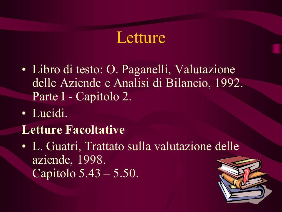 Letture Libro di testo: O. Paganelli, Valutazione delle Aziende e Analisi di Bilancio, 1992. Parte I - Capitolo 2. Lucidi. Letture Facoltative L. Guat