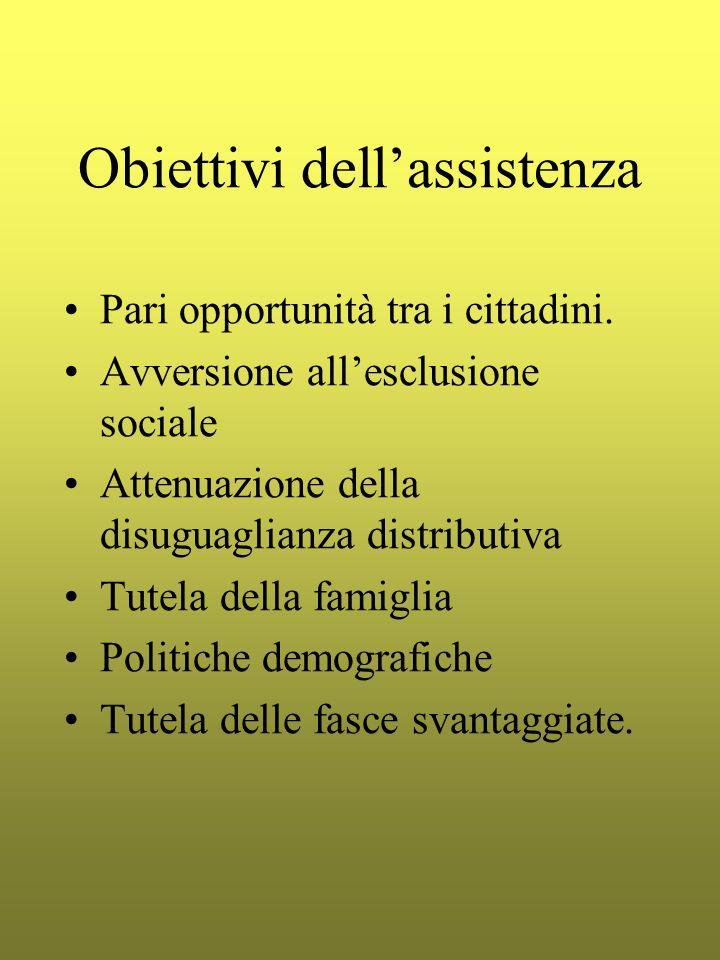 Obiettivi dellassistenza Pari opportunità tra i cittadini. Avversione allesclusione sociale Attenuazione della disuguaglianza distributiva Tutela dell