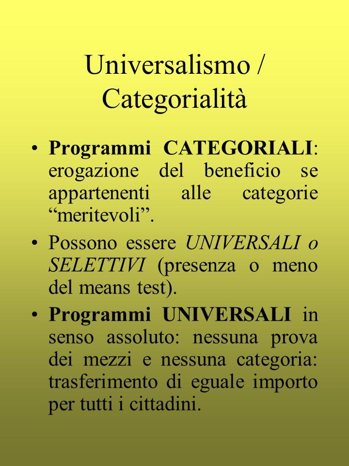 Universalismo / Categorialità Programmi CATEGORIALI: erogazione del beneficio se appartenenti alle categorie meritevoli. Possono essere UNIVERSALI o S