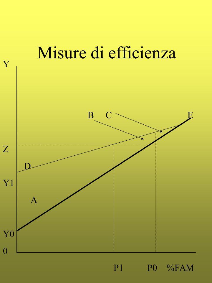 Misure di efficienza Y B C E Z D Y1 A Y0 0 P1 P0 %FAM