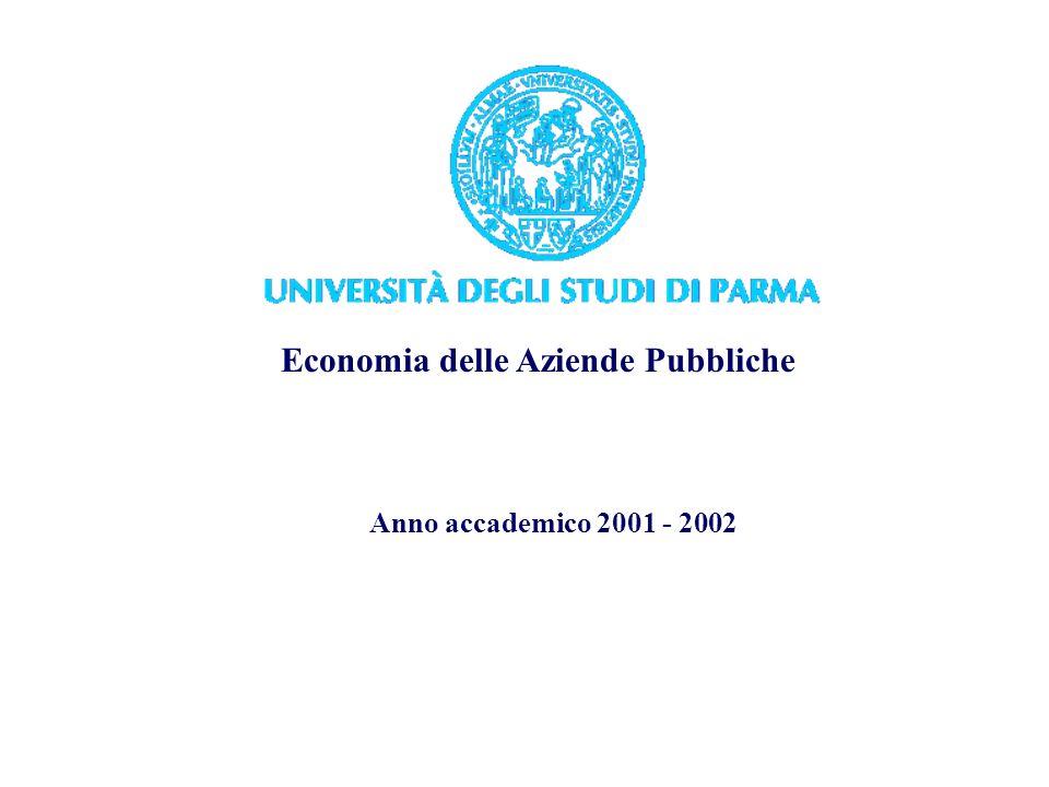 Economia delle Aziende Pubbliche Anno accademico 2001 - 2002