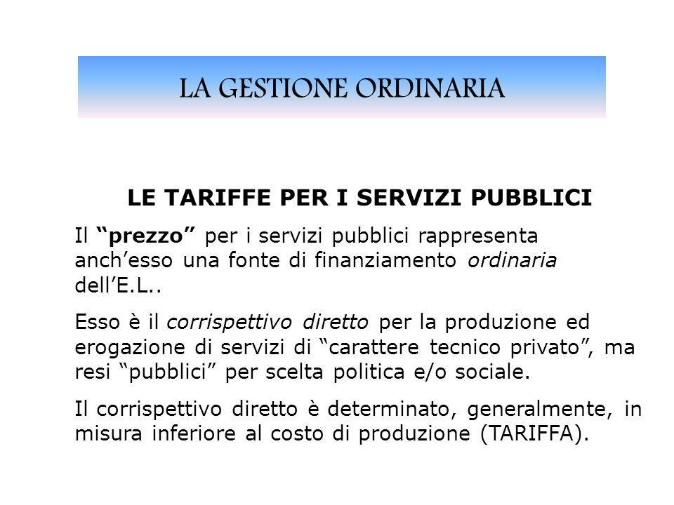 LA GESTIONE ORDINARIA LE TARIFFE PER I SERVIZI PUBBLICI Il prezzo per i servizi pubblici rappresenta anchesso una fonte di finanziamento ordinaria dellE.L..