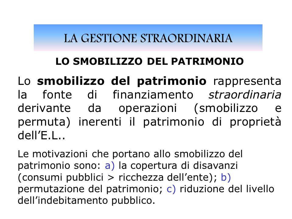LA GESTIONE STRAORDINARIA LO SMOBILIZZO DEL PATRIMONIO Lo smobilizzo del patrimonio rappresenta la fonte di finanziamento straordinaria derivante da operazioni (smobilizzo e permuta) inerenti il patrimonio di proprietà dellE.L..