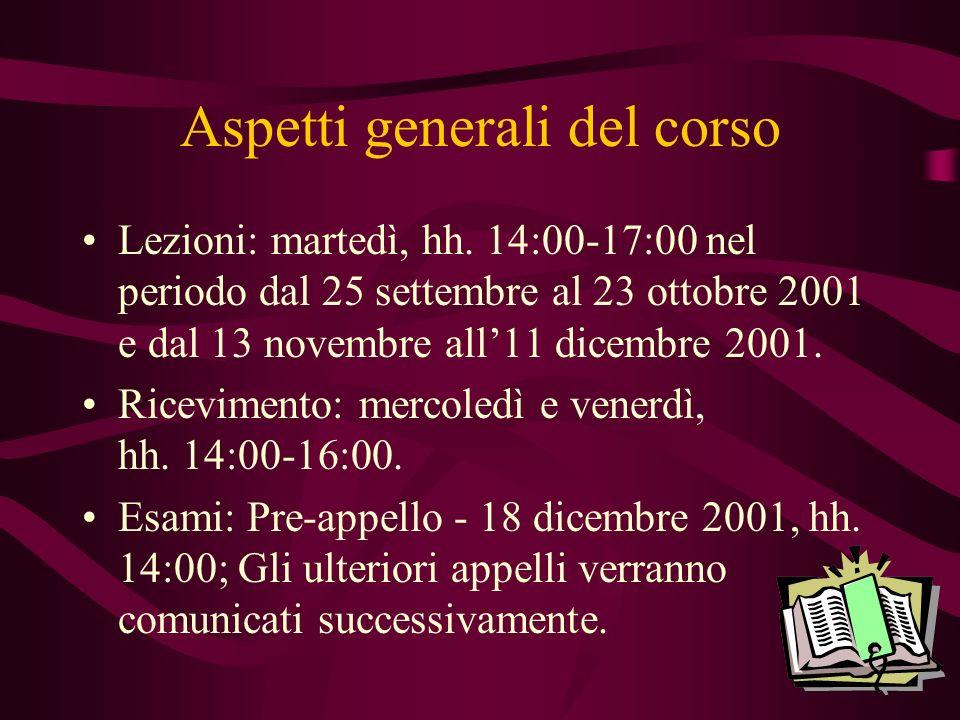 Aspetti generali del corso Lezioni: martedì, hh. 14:00-17:00 nel periodo dal 25 settembre al 23 ottobre 2001 e dal 13 novembre all11 dicembre 2001. Ri
