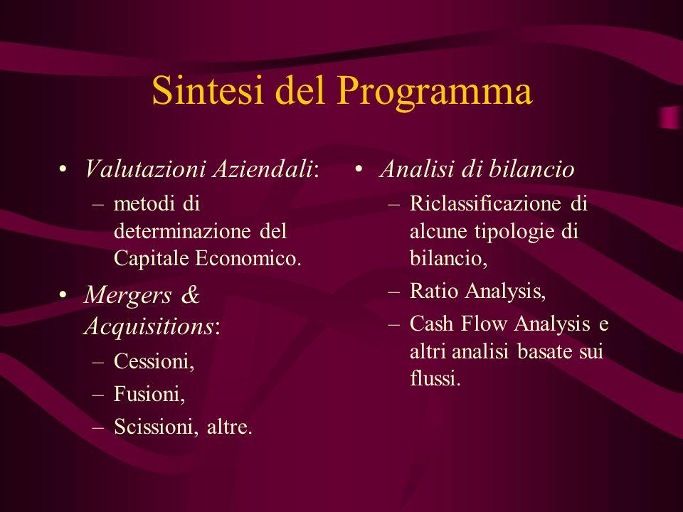 Sintesi del Programma Valutazioni Aziendali: –metodi di determinazione del Capitale Economico. Mergers & Acquisitions: –Cessioni, –Fusioni, –Scissioni