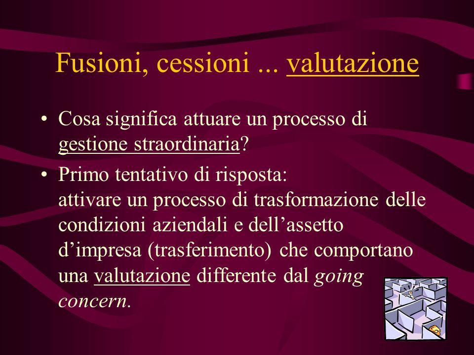 Fusioni, cessioni... valutazione Cosa significa attuare un processo di gestione straordinaria? Primo tentativo di risposta: attivare un processo di tr