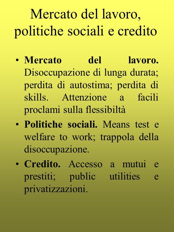 Mercato del lavoro, politiche sociali e credito Mercato del lavoro. Disoccupazione di lunga durata; perdita di autostima; perdita di skills. Attenzion