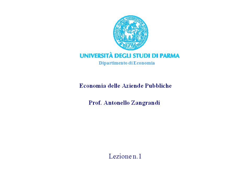 Dipartimento di Economia Lezione n.1