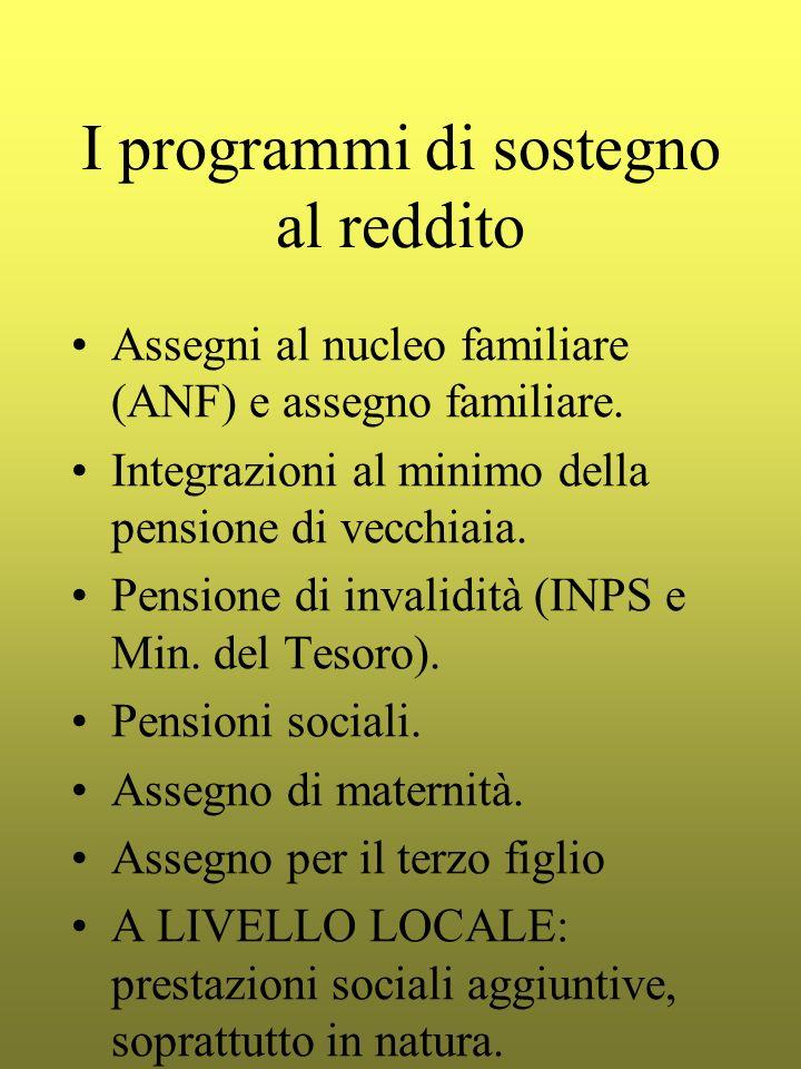 I programmi di sostegno al reddito Assegni al nucleo familiare (ANF) e assegno familiare. Integrazioni al minimo della pensione di vecchiaia. Pensione