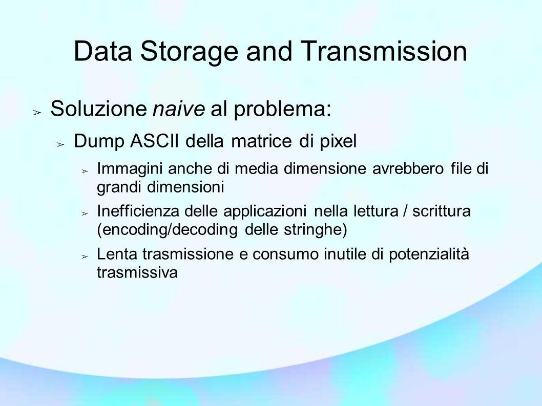 Data Storage and Transmission Soluzione naive al problema: Dump ASCII della matrice di pixel Immagini anche di media dimensione avrebbero file di gran