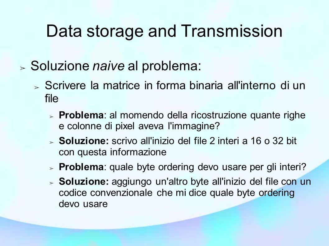 Data storage and Transmission Soluzione naive al problema: Scrivere la matrice in forma binaria all'interno di un file Problema: al momendo della rico