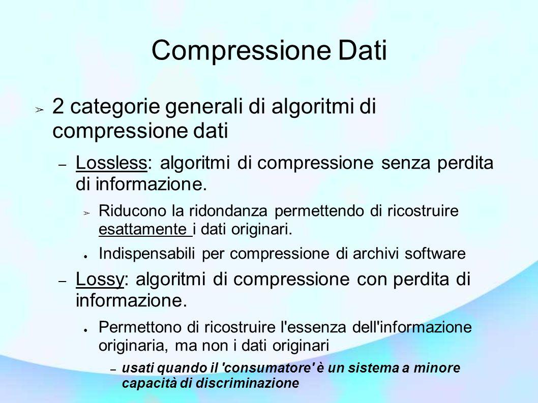 Compressione Dati 2 categorie generali di algoritmi di compressione dati – Lossless: algoritmi di compressione senza perdita di informazione. Riducono