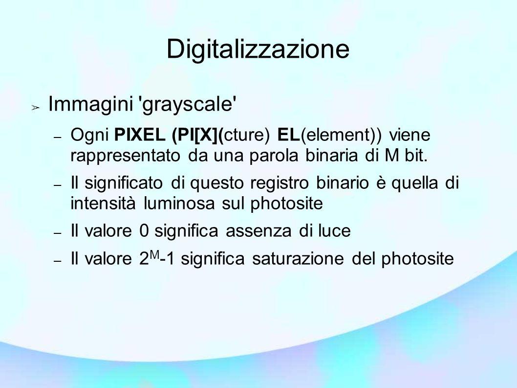 Digitalizzazione Immagini 'grayscale' – Ogni PIXEL (PI[X](cture) EL(element)) viene rappresentato da una parola binaria di M bit. – Il significato di