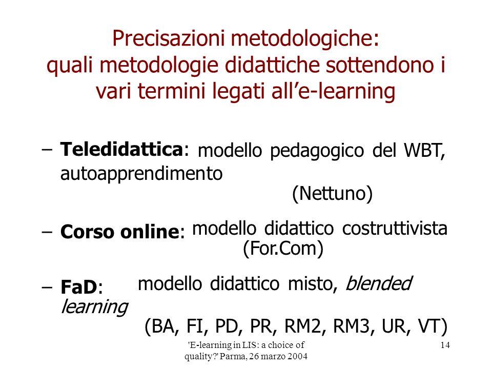 'E-learning in LIS: a choice of quality?' Parma, 26 marzo 2004 14 Precisazioni metodologiche: quali metodologie didattiche sottendono i vari termini l