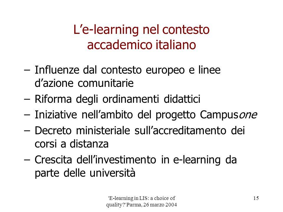 'E-learning in LIS: a choice of quality?' Parma, 26 marzo 2004 15 Le-learning nel contesto accademico italiano –Influenze dal contesto europeo e linee