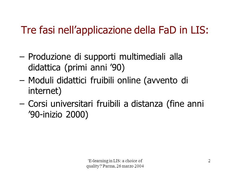 'E-learning in LIS: a choice of quality?' Parma, 26 marzo 2004 2 Tre fasi nellapplicazione della FaD in LIS: –Produzione di supporti multimediali alla