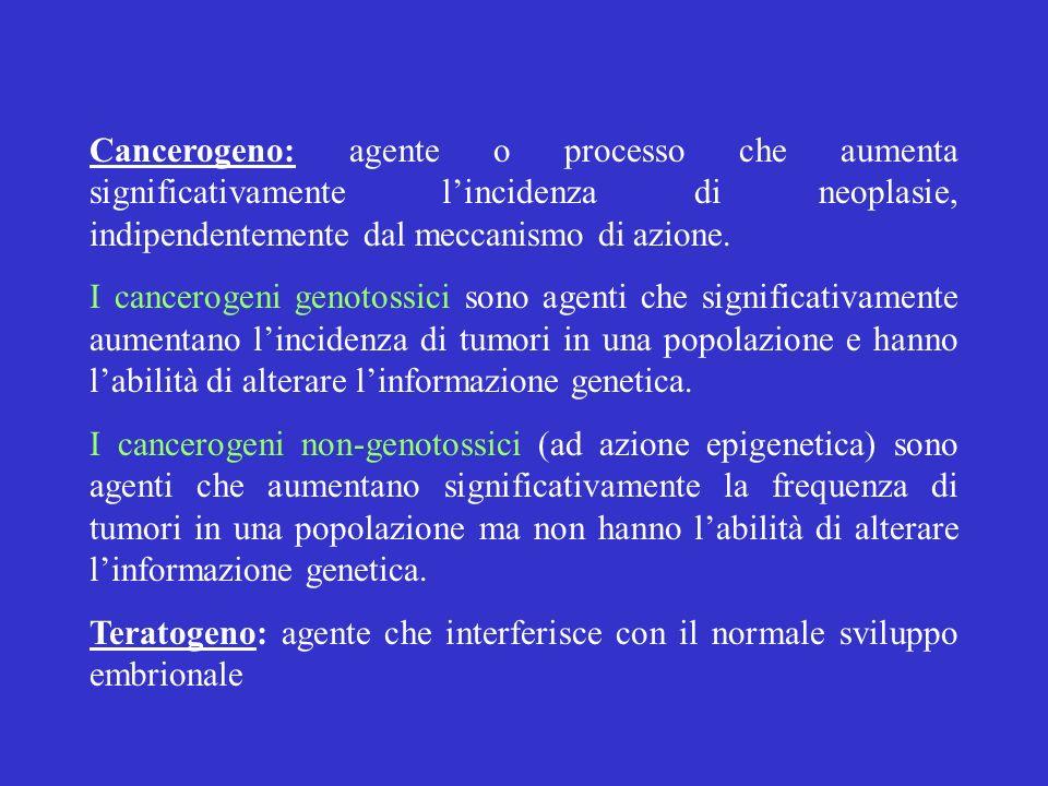 Cancerogeno: agente o processo che aumenta significativamente lincidenza di neoplasie, indipendentemente dal meccanismo di azione. I cancerogeni genot