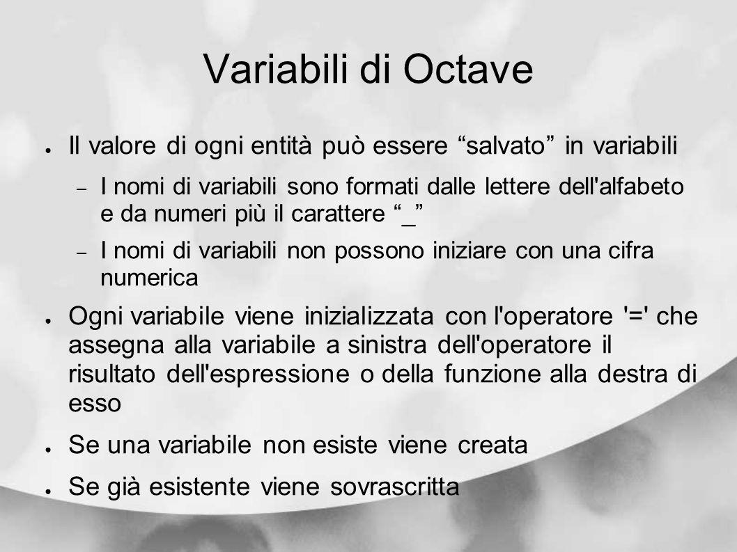 Variabili di Octave Il valore di ogni entità può essere salvato in variabili – I nomi di variabili sono formati dalle lettere dell'alfabeto e da numer