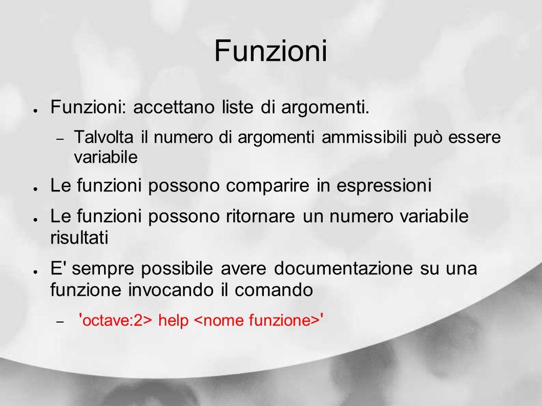 Funzioni Funzioni: accettano liste di argomenti. – Talvolta il numero di argomenti ammissibili può essere variabile Le funzioni possono comparire in e