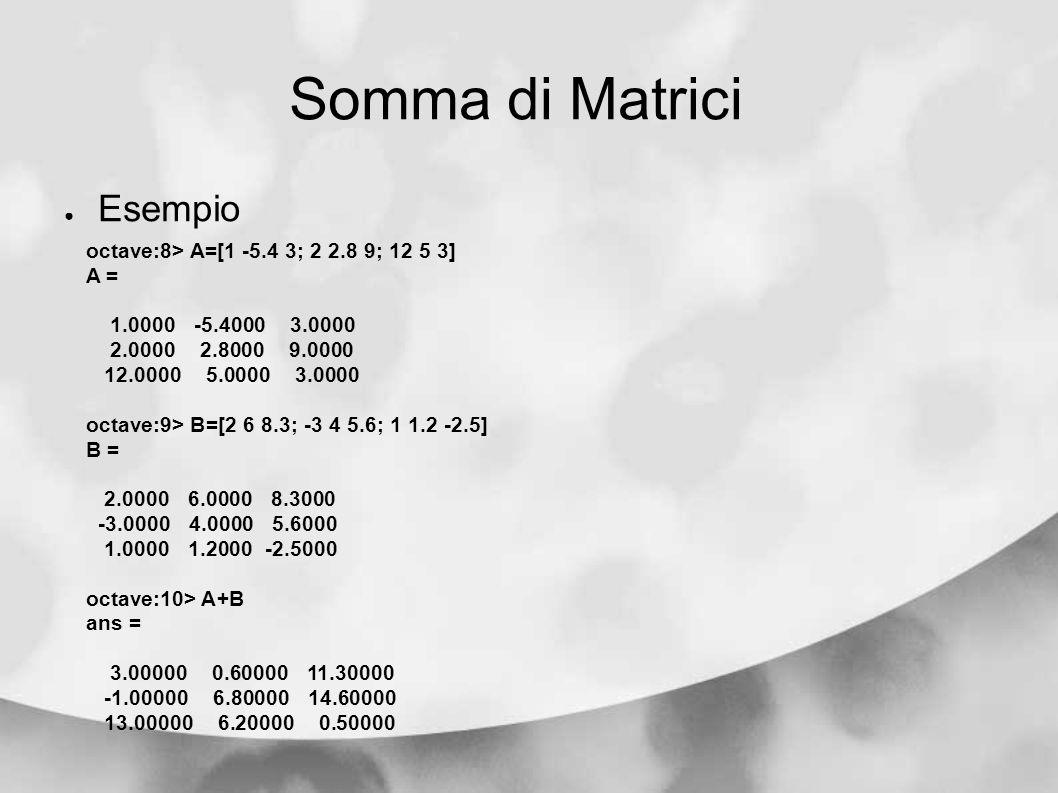 Somma di Matrici Esempio octave:8> A=[1 -5.4 3; 2 2.8 9; 12 5 3] A = 1.0000 -5.4000 3.0000 2.0000 2.8000 9.0000 12.0000 5.0000 3.0000 octave:9> B=[2 6