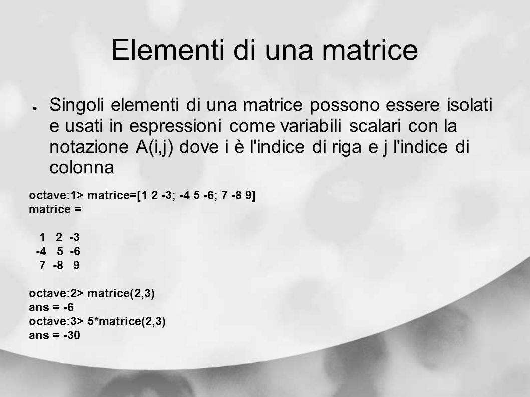 Elementi di una matrice Singoli elementi di una matrice possono essere isolati e usati in espressioni come variabili scalari con la notazione A(i,j) d