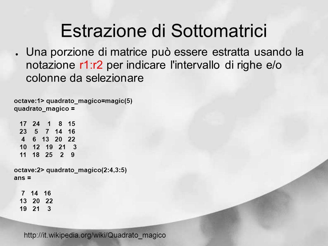 Estrazione di Sottomatrici Una porzione di matrice può essere estratta usando la notazione r1:r2 per indicare l'intervallo di righe e/o colonne da sel
