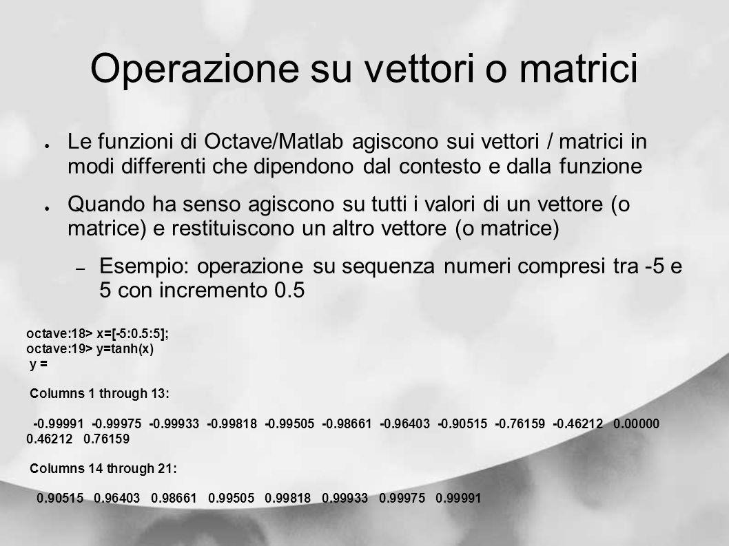 Operazione su vettori o matrici Le funzioni di Octave/Matlab agiscono sui vettori / matrici in modi differenti che dipendono dal contesto e dalla funz