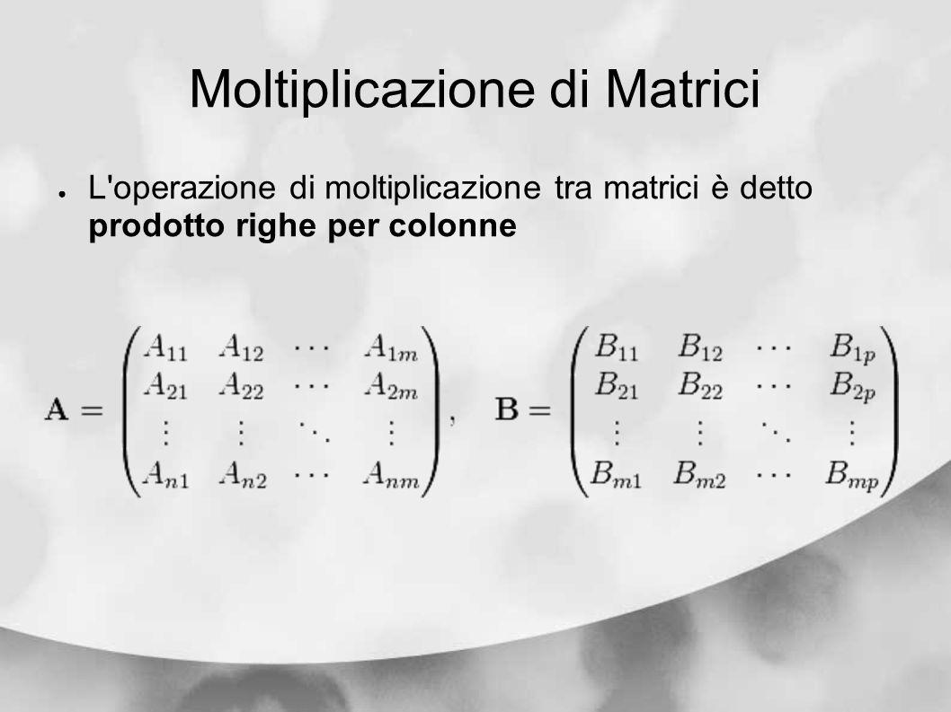 Moltiplicazione di Matrici L'operazione di moltiplicazione tra matrici è detto prodotto righe per colonne