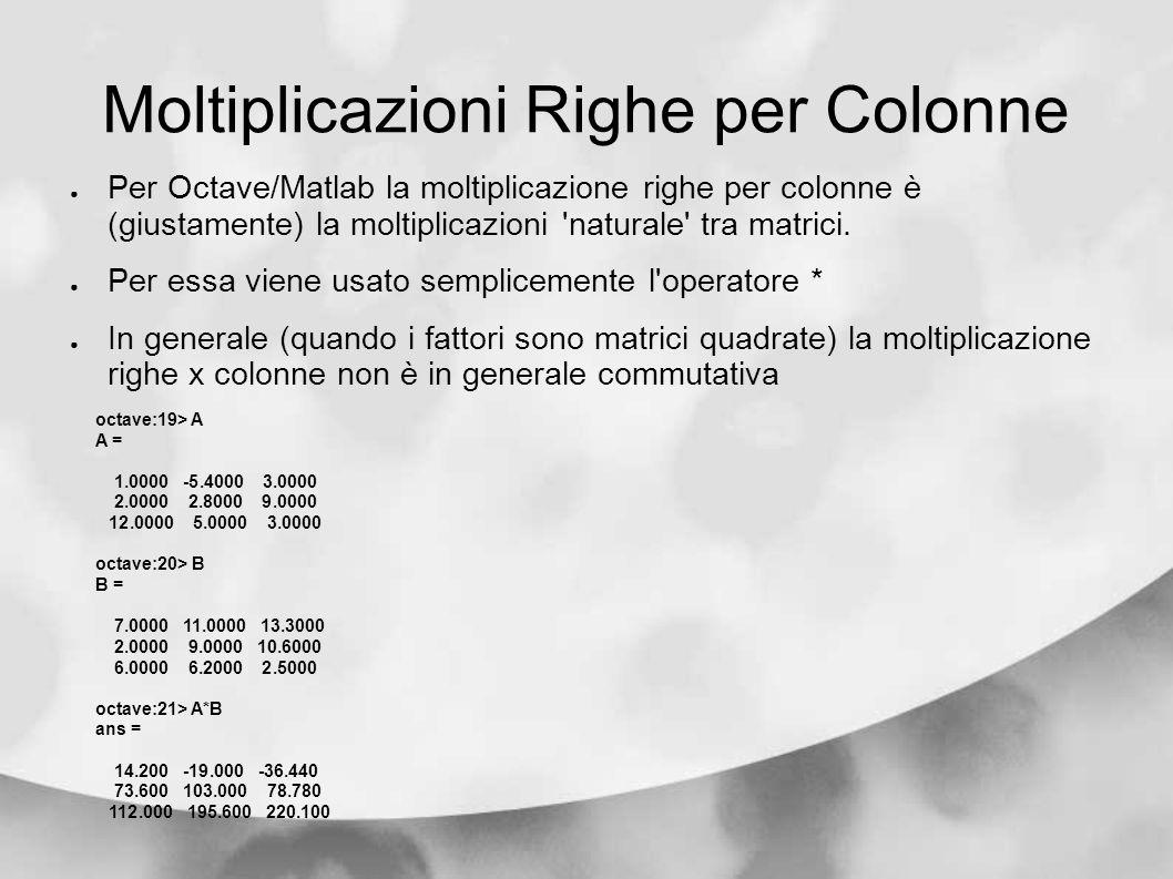 Moltiplicazioni Righe per Colonne Per Octave/Matlab la moltiplicazione righe per colonne è (giustamente) la moltiplicazioni 'naturale' tra matrici. Pe