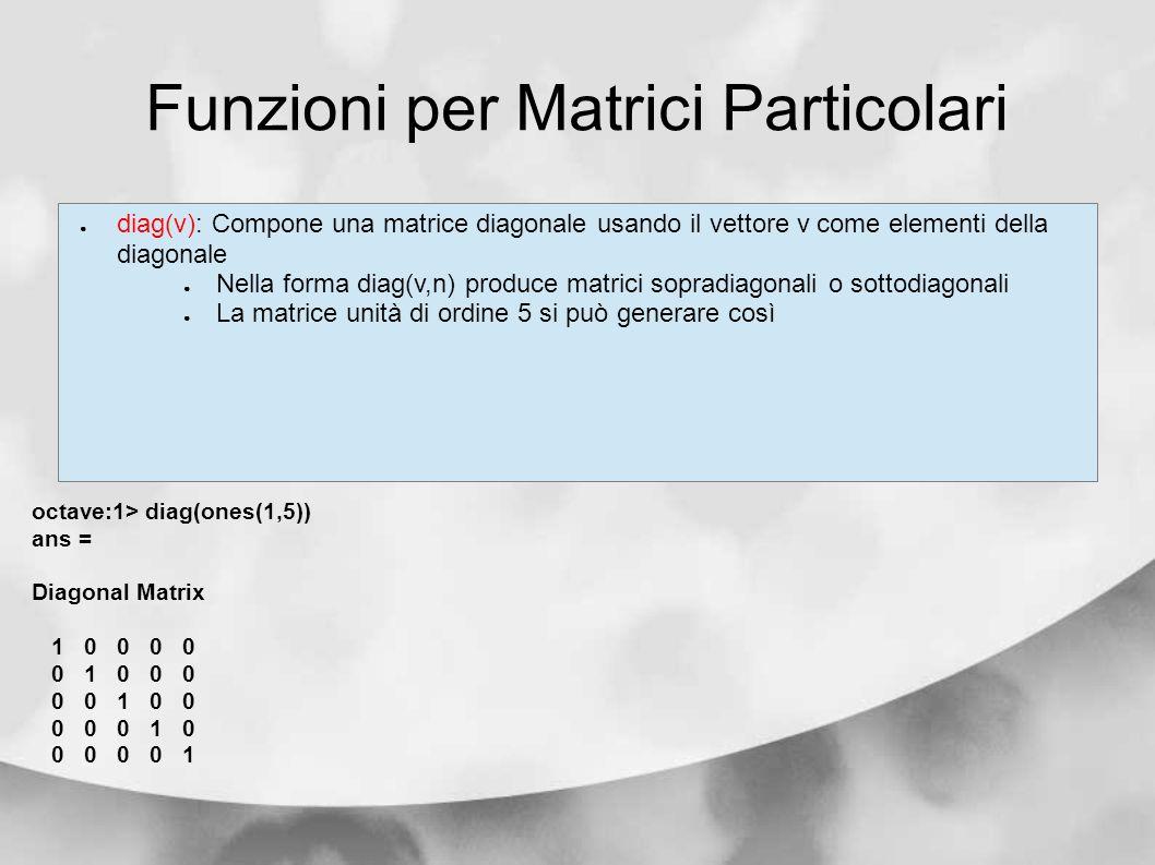 Funzioni per Matrici Particolari diag(v): Compone una matrice diagonale usando il vettore v come elementi della diagonale Nella forma diag(v,n) produc