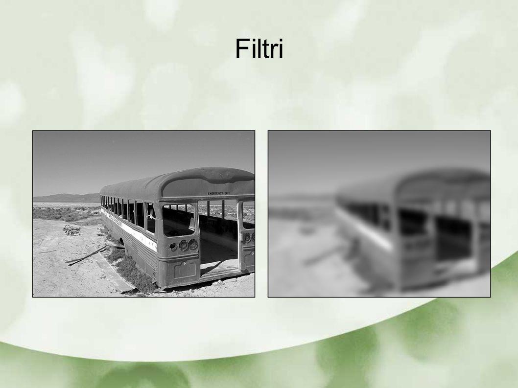 Filtri lineari Filtro di differenza: modelli di filtri la cui risposta tende ad esaltare i bordi (salti di intensità) I filtri per differenza hanno alcuni dei coefficiente della matrice negativi
