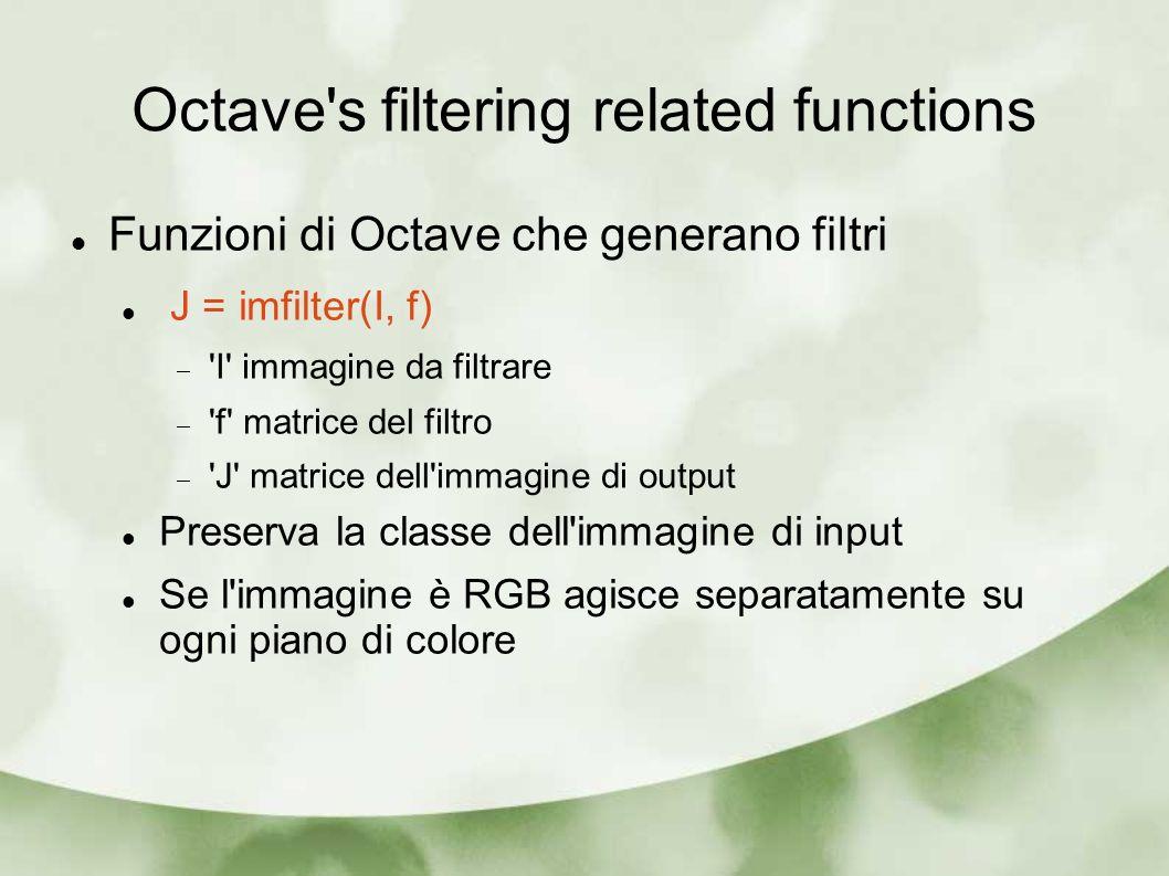 Octave's filtering related functions Funzioni di Octave che generano filtri J = imfilter(I, f) 'I' immagine da filtrare 'f' matrice del filtro 'J' mat