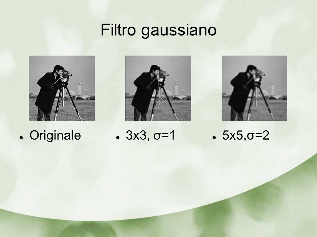 Filtro gaussiano 5x5,σ=2 3x3, σ=1 Originale