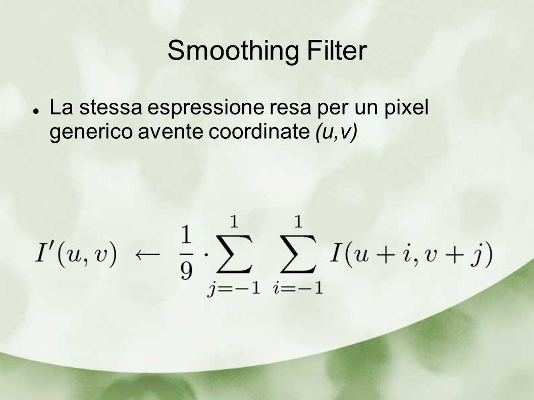 Smoothing Filter Caratteristiche generali Dimensione (size): numero di punti lungo righe&colonne coinvolti nel filtro Forma: Il filtro di media è rettangolare.