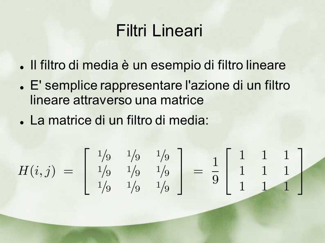 Matrice di un filtro Quasi sempre le matrici hanno ordine dispari in modo che sia univoco il loro centro Il centro di una matrice di un filtro, anche se non necessariamente, è il suo hot spot