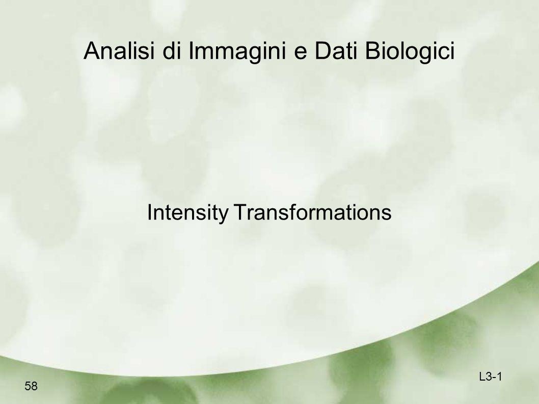 Analisi di Immagini e Dati Biologici Intensity Transformations 58 L3-1