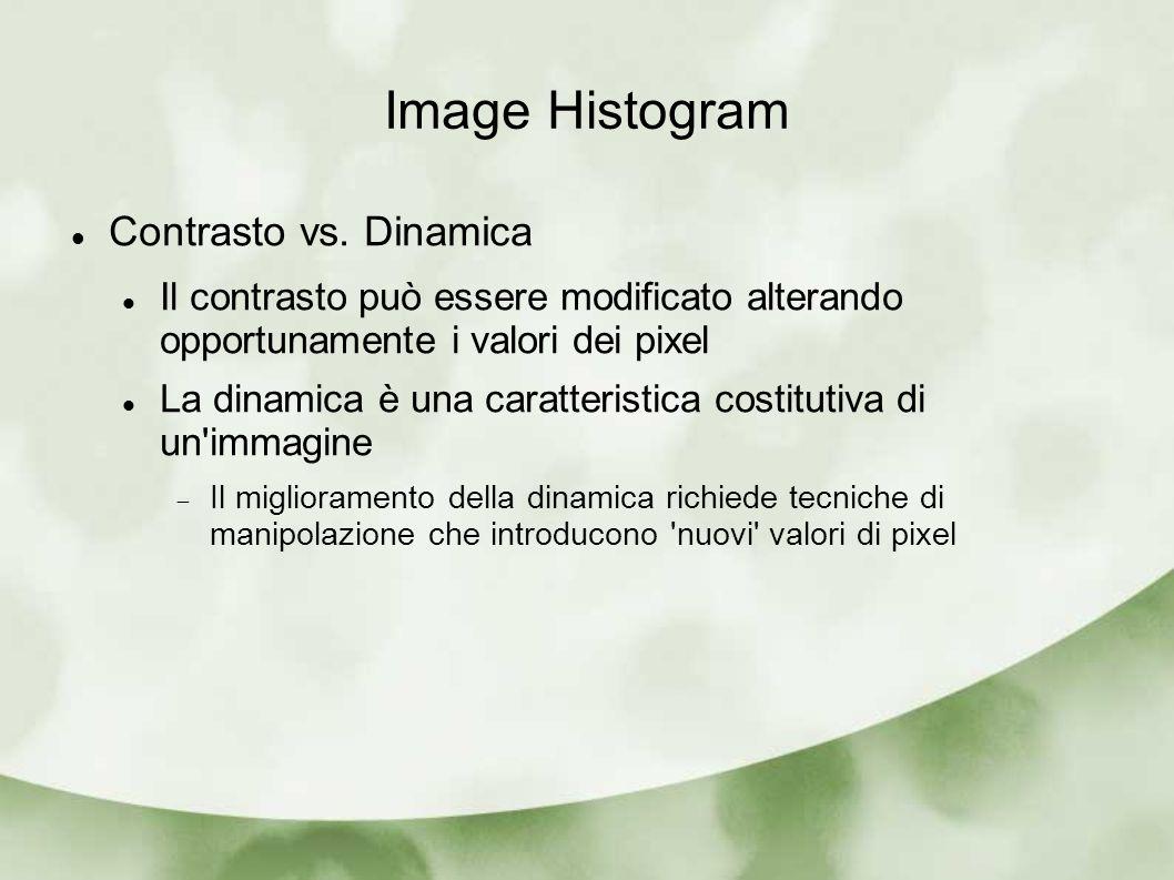 Image Histogram Contrasto vs. Dinamica Il contrasto può essere modificato alterando opportunamente i valori dei pixel La dinamica è una caratteristica