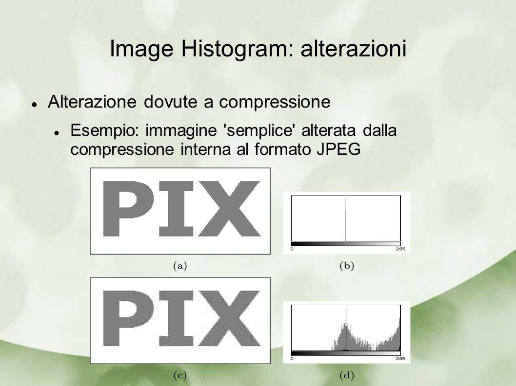 Image Histogram: alterazioni Alterazione dovute a compressione Esempio: immagine 'semplice' alterata dalla compressione interna al formato JPEG
