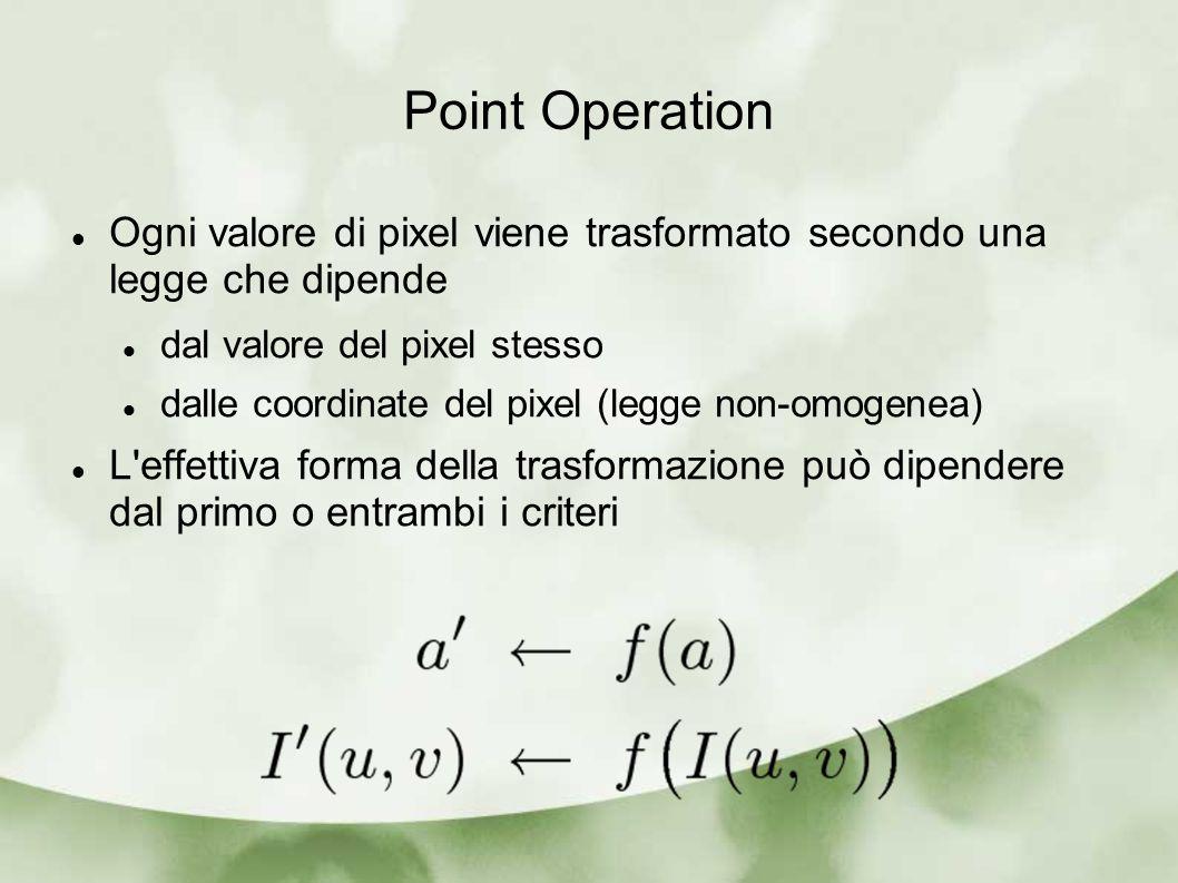 Point Operation Ogni valore di pixel viene trasformato secondo una legge che dipende dal valore del pixel stesso dalle coordinate del pixel (legge non-omogenea) L effettiva forma della trasformazione può dipendere dal primo o entrambi i criteri