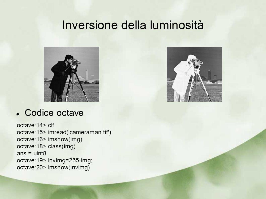 Inversione della luminosità Codice octave octave:14> clf octave:15> imread('cameraman.tif') octave:16> imshow(img) octave:18> class(img) ans = uint8 o